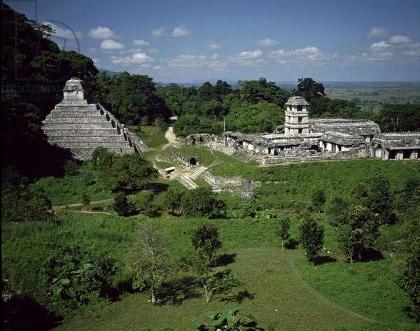 Precolombian art, Mayan civilization: view of the palace and temple of inscriptions, site of Palenque 7th-10th century Chiapas Mexico (Archeological site of Palenque, maya civilization, temple of the inscriptions)