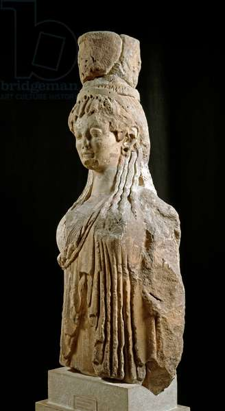 Column with female statue. Tresor of the Siphnians, 525 BC