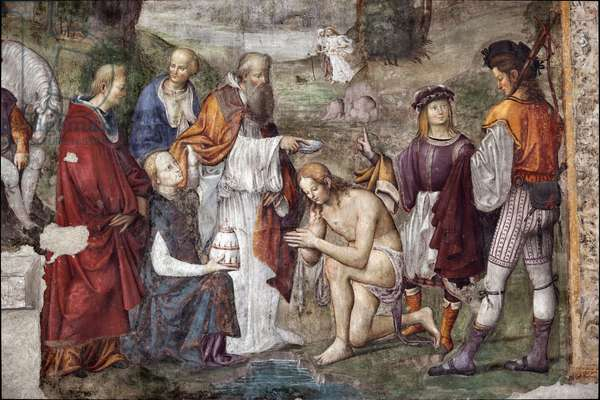 Life of St. Cecile: Valerian baptized by Pope Urban I, detail  (fresco, 1506)