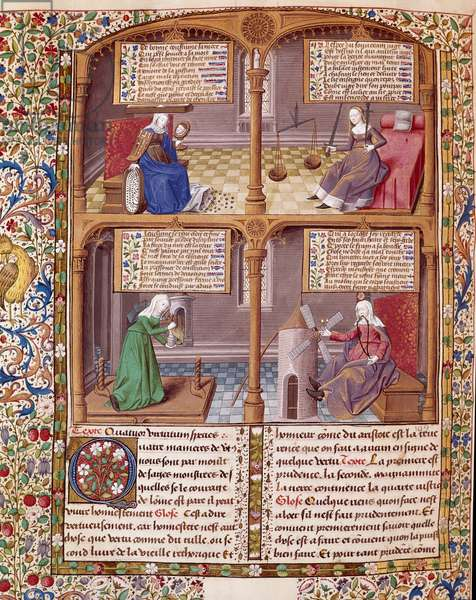 The Four Cardinal Viruses: Prudence, Strength, Continence and Justice. Page taken from a manuscript by Seneque (Lucius Annaeus Seneca, 4 BC-65 AD. JC), philosopher of the Stoician school, playwright and a Roman statesman enluminated by the master Francois. 1475. Chantilly, conde museum
