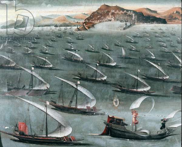 French fleet off the town of Genoa (painting, 16th century)