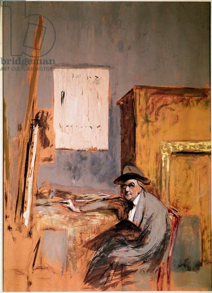 Portrait of the painter Jean Louis Forain (1852-1931) in his studio, 1926 (oil on canvas)