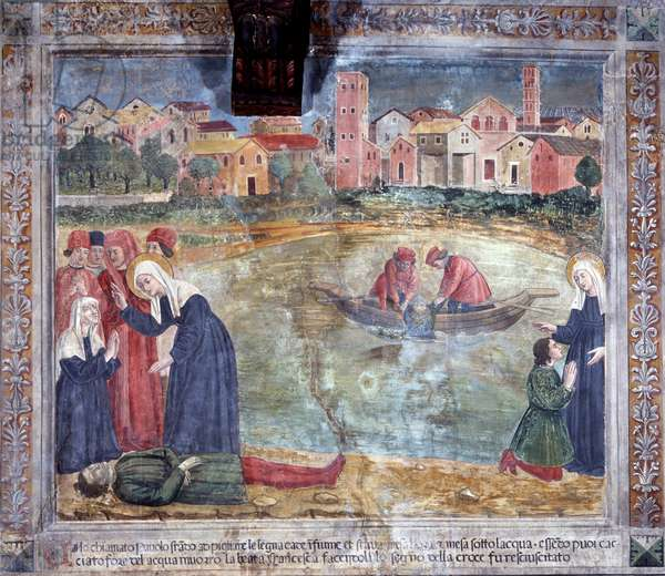 "Life of St. Francesca Romana (Santa Francesca Romana) (1384-1440) (Histories of St Francesca Romana): ""A man is risen by the saint after being drowned in the Tiber"" (a man is risen by the saint after being drowned in the Tiber) Fresco by Antoniazzo Romano (15th century) 1468 Rome, convent of Community of Oblate di Tor de 'Specchi Italy"