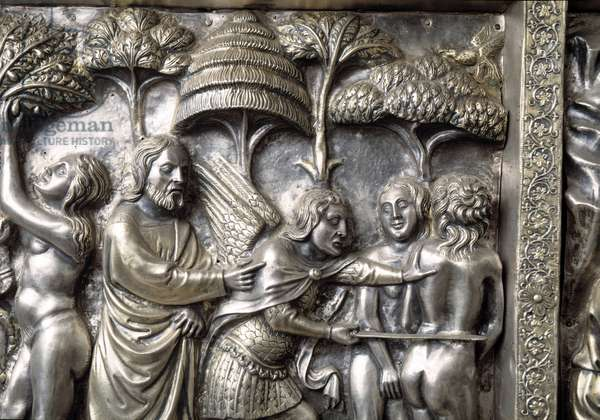 Adam and Eve expelled from Paradise, detail of the lateral antependium,  Altar of Saint James the Major, 1364 (silver)