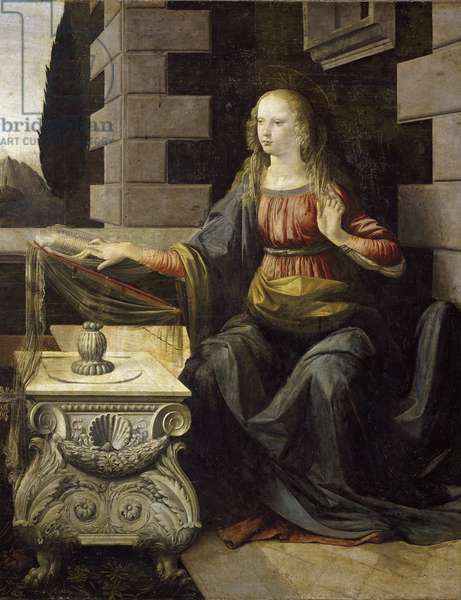 Annunciation. Detail of the Virgin Mary and her desk that is decorated with a scallop shell (St. James shell). Painting by Leonardo da Vinci (Leonardo da Vinci, 1452-1519), circa 1475. Oil and tempera on wood. Dim: 98x217cm. Firenze, Galleria degli Uffizi (Florence, Uffizi Museum)