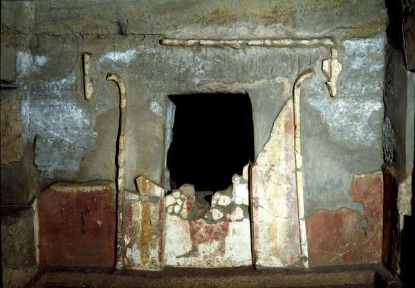 Etruscan civilization: entrance of the Francois tomb in the necropolis of Ponte Rotto, 4th century BC. Vulci, Italy