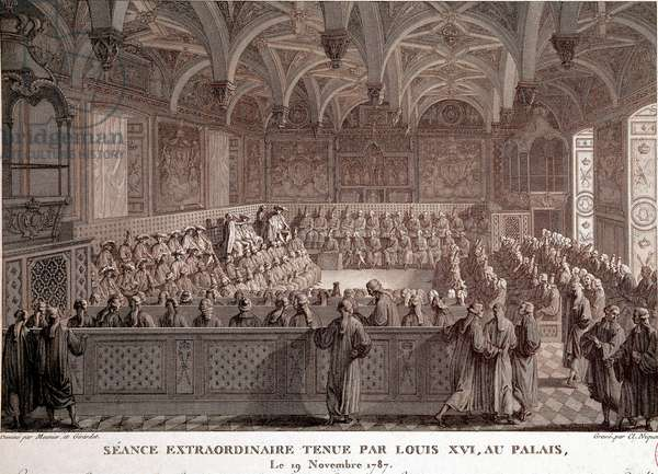 First of the French Revolution: Extraordinary session held by Louis XVI (1754-1793) at the Palace of Versailles, November 19, 1787. Drawing by Meunier and Girardet grave by C. Niquet. Paris, Musee Carnavalet - Beginnings of the French Revolution: Extraordinary seance hold by Louis XVI (1754-1793) in the Versailles Palace, november 19th, 1787. Drawing by Meunier and Girardet, engraved by C. Niquet - Paris, Carnavalet Museum