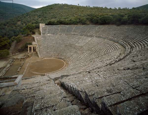 View of the ancient theater of Epidaurus (or theater of Argolide), 5th or 4th century BC (photography)