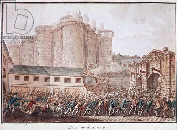 "French Revolution: """" la prise de la Bastille, 14/07/1789"" (The storm of the fortress of the Bastille, on 14 July 1789) Print Paris, musee Carnavalet"