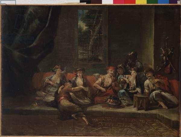 The harem, Turkish scene, Odalisque and Turks smoking hogs on cushions Painting by Gianantonio Guardi or Giovanni Antonio Guardi (1699-1761) 18th century Private Collection