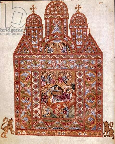 Nativite Miniature of the Codex of Egbert (Codex Egberti) by the school of Reichenau. 980 approx. Cividale del Friuli, Museo Archeologico or Cathedrale de Cividale