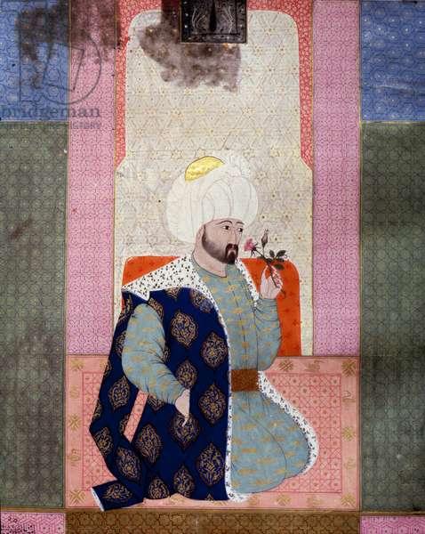 "Ottoman Empire: """" Portrait of Ottoman Sultan Mehmet (or Mehmed or Mohammed) Celebi I (1389-1421)"""" Miniature from the manuscript (Ms. 1973, folio 62a) """" Zubdat al Tawarikh"" (Zubdat al Tawarikh) (Creme of Stories) by historian Seyyid Loqman Ashuri 1538. Turkish and Islamic Art Museum Istanbul"