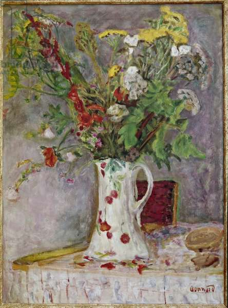 Vase of flowers Painting by Pierre Bonnard (1867-1947), 1930, oil on canvas - Oil on canvas by Pierre Bonnard (1867-1947), 1930 Dim 99x48 cm - Private collection