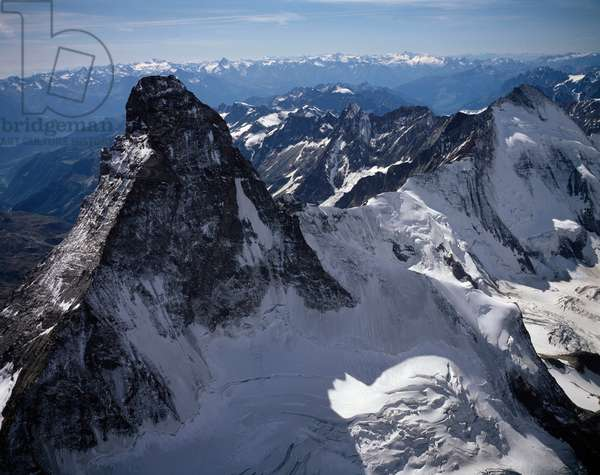 Aerial view of the Pennine Alps, with Matterhorn on the left and Dent d'Herens, 1990 ca - Photography