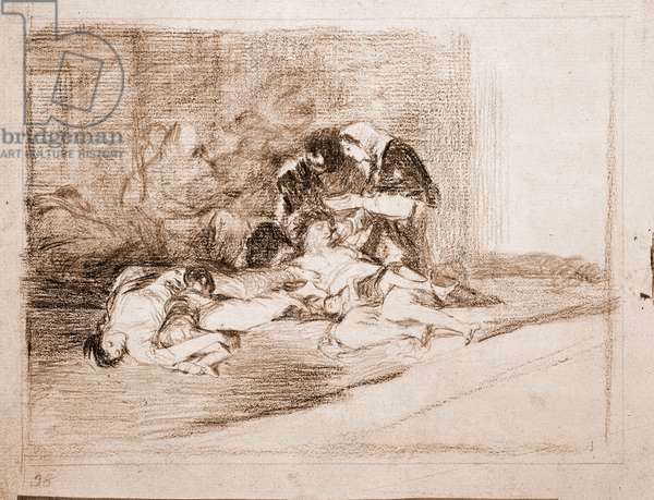 "War Destres: """" What is a bowl for? """" (De que sirve una taza) A woman comes to rescue a famine victim by giving her a cup of food - Preparation drawing in red pencil n°59 by Francisco de Goya y Lucientes (1746-1828) 1810-1820 Madrid Musee du Prado"