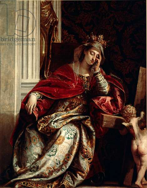 """The vision of St. Helene Saint Helene, mother of the Roman Emperor Constantine (306-337 AD.) is represented sitting, sleepy with her head resting on her hand; she makes the dream that made her find the true Cross, which she saw """"materialized"""" and supported by an angelot. Painting by Paolo Veronese Caliari (1528-1588) 1580 Dim. 166x134 cm Rome, Pinacoteca Vaticana"""