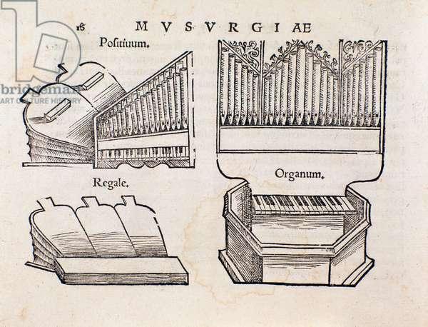 Organ representation. Page taken from Musurgia practical manual of music, 1536)