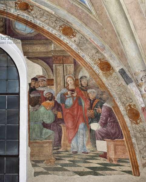 Representation of the dispute between St Catherine of Alexandria and the pagans Frescoe by Giovanni Donato da Montorfano (1460-1502) Milan, Basilica di Santa Maria delle Grazie