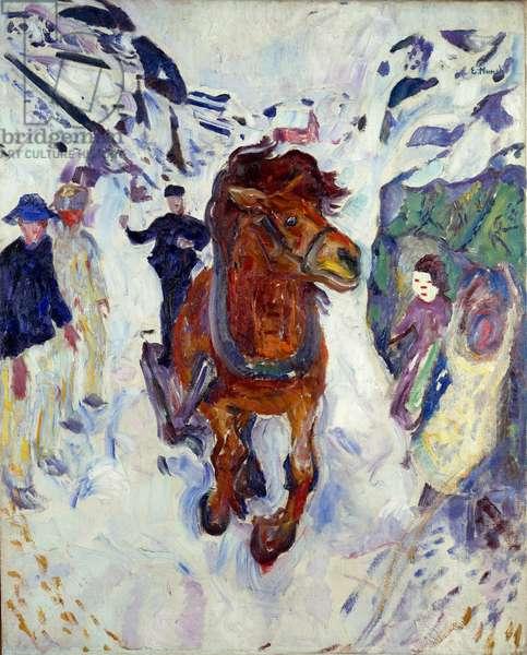 Horse Gallop Painting by Edvard Munch (1863-1944) 1910-1912 Dim. 148x119.5 cm Oslo, Kommunes Kunstsamlinger Munch-Museet (Musee Munch)