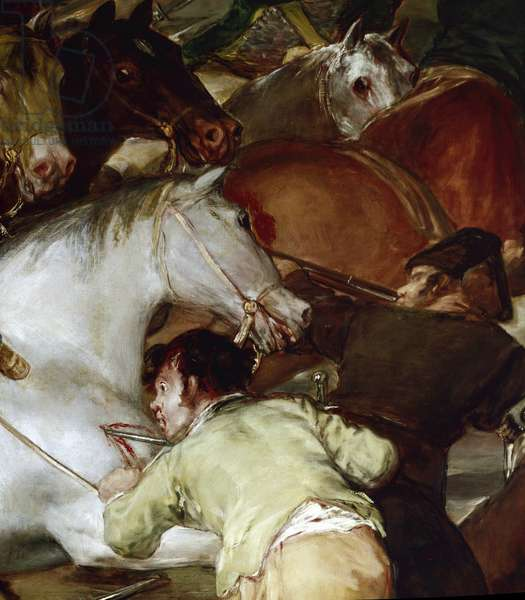 "El dos de Mayo (May 2) or """" The charge of the Mamluks"""": revolt against Joseph Bonaparte (brother of Napoleon I) in Madrid on 2/05/1808. Detail. Painting by Francisco de Goya y Lucientes (1746-1828). 1814. Sun. 2,66x3,45 m Madrid. Prado Museum."