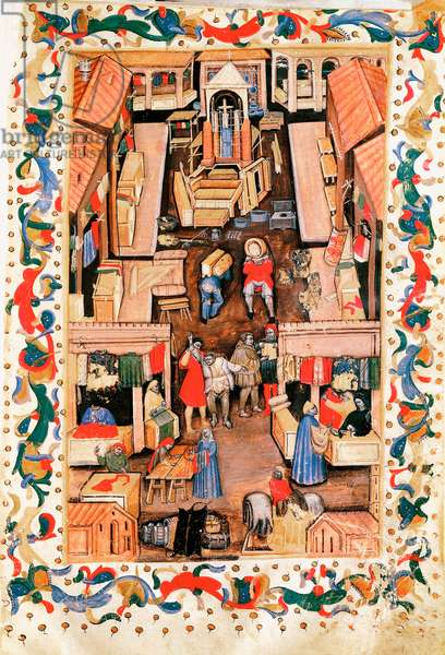 The walk of the square Ravegnana in Bologna with cloth merchant, 15th century (miniature)