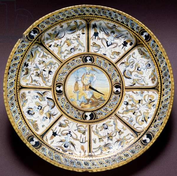 Representation of the Roman heros Scaevola (Muzio Scevola) Ceramic plate produced in Urbino, Italy. 1590 approx. Florence, Museo Nazionale del Bargello