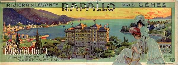 Advertising poster for New Kursaal hotel in Rapallo, touristic city near Genoa, Italy, 1907