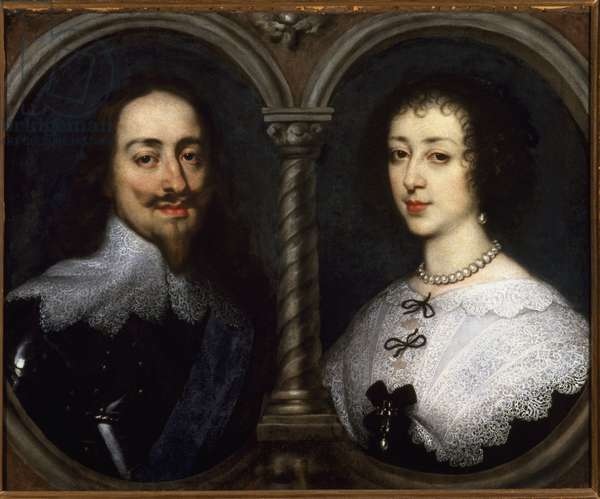 Double portrait of Charles I Stuart of England (1600-1649) and Henriette Marie of France (1609-1669). Painting by Antoine (Antoine or Antoon or Anton) Van Dyck (1599-1641), 17th century. Oil on canvas. Dim: 66 x 82 cm. Firenze, Palazzo Pitti, Palatina