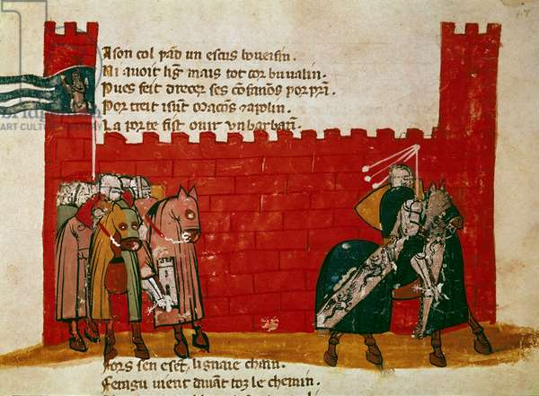 """A group of knights leaving a Miniature castle from """""""" Entree of Spain"""""""". 14th century Venice, Biblioteca Marciana"""
