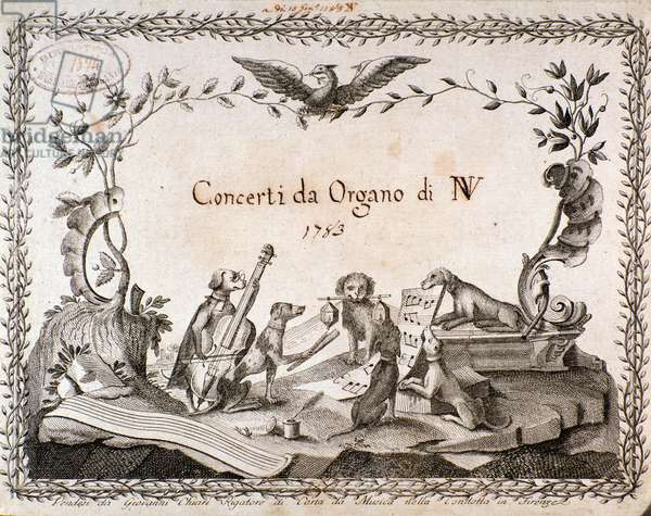 Frontispiece of a musical score with representation of animals playing musical instruments - 1783 Private collection