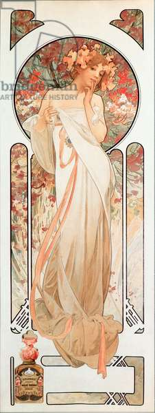 "Advertising poster by Alphonse Mucha (1860-1939) for the fragrance ""Sylvanis essence"" 1899 - Dim 21x61 cm Advertising poster by Alphonse Mucha for the perfume """" Sylvanis essence """" 1899 - Private collection"