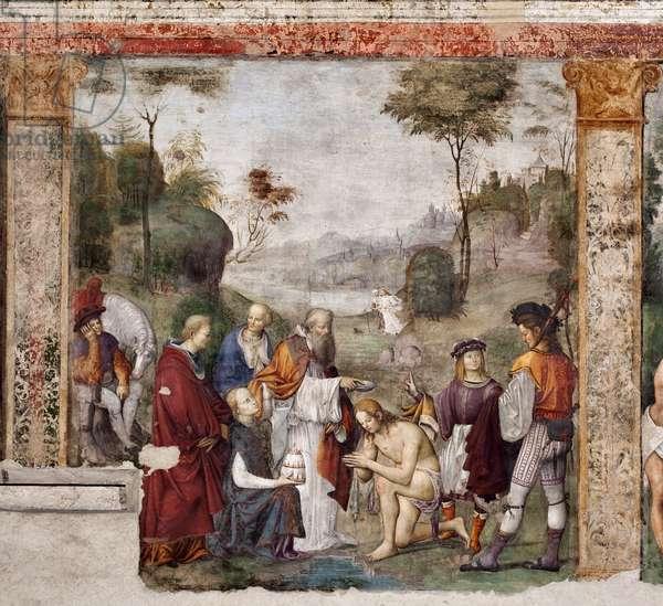 Life of St. Cecile: St Valerian baptized by Urban I (fresco, 1506)