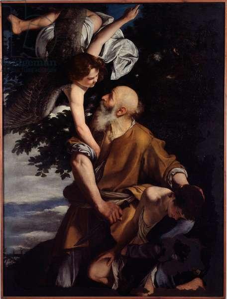 The Sacrifice of Isaac An Angel Arrested Abraham, Appreying to Sacrifice Isaac (Binding of Isaac) Painting by Orazio Gentileschi (1563-1639) Genes, Galleria Nazionale di Palazzo Spinola