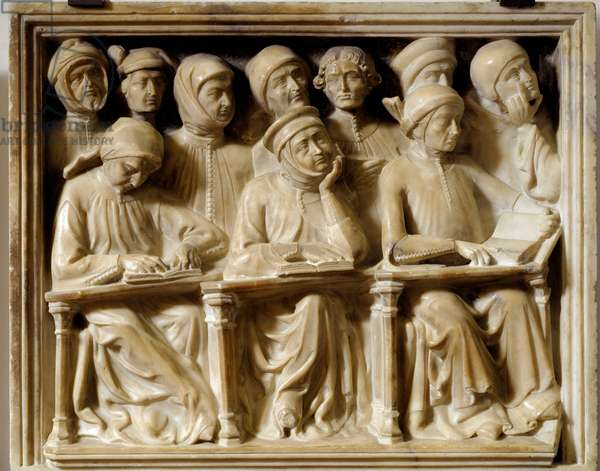 Burial arch of Bartolomeo da Saliceto: students attending a course (sculpture, 1412)
