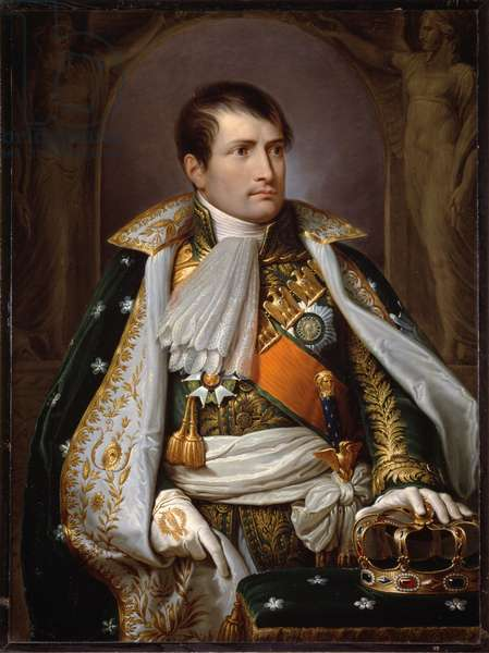 Portrait of Napoleon Bonaparte (1769-1821) in costume of King of Italy Painting by Andrea Appiani (1754-1817) 1807 Sun. 99x73 cm Vienna, Kunsthistorisches Museum, (inv. 2347)