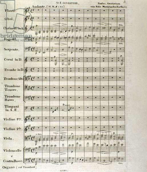 "First page of score of ""Paulus"", op. 36 by Felix Mendelssohn (litho)"