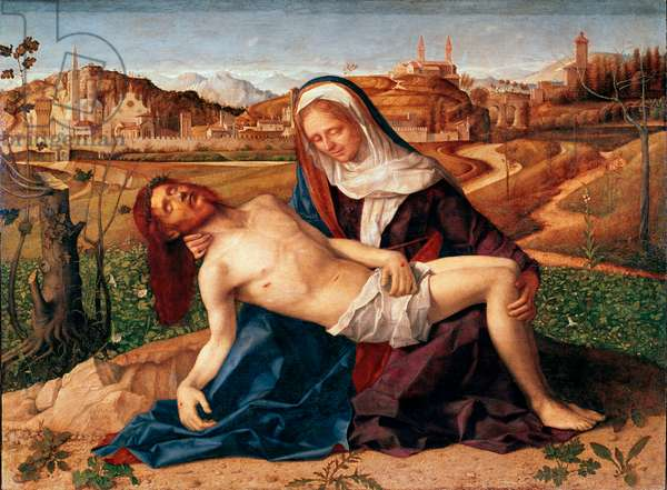 Christ died in the arms of the Virgin Pieta. Painting by Giovanni Bellini dit il Giambellino (1432 ca.-1516) 1505 Dim. 65x90 cm. Venice, Gallerie del 'Accademia