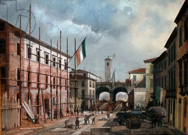 Revolutions of 1848, Five Days of Milan: defense of the arch of Porta Nuova on March 19th (painting, 19th century)