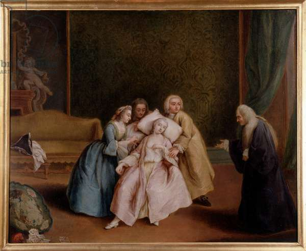 Lo svenimento (The faint) Painting by Pietro Longhi (1702-1785) 1760 Dim 70x54 cm Vicenza Private Collection