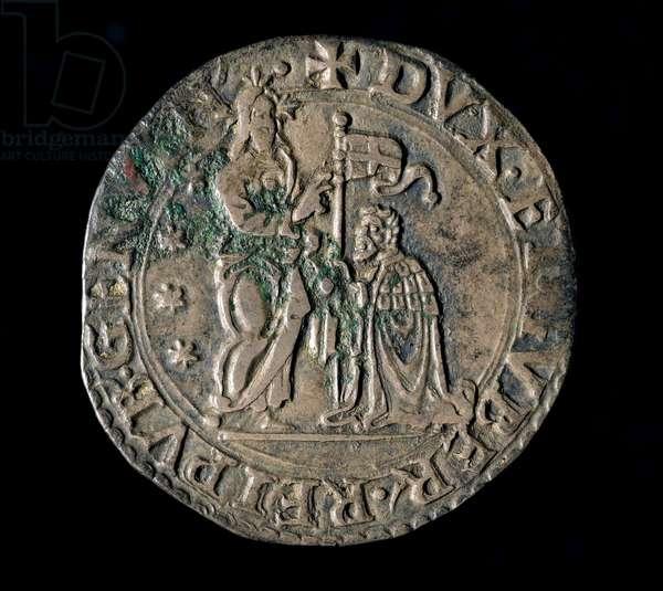 Currency of the Republic of Genes: silver teston (or testone) of the Benediction. Verso. 1554 Genes, Musei di Strada Nuova