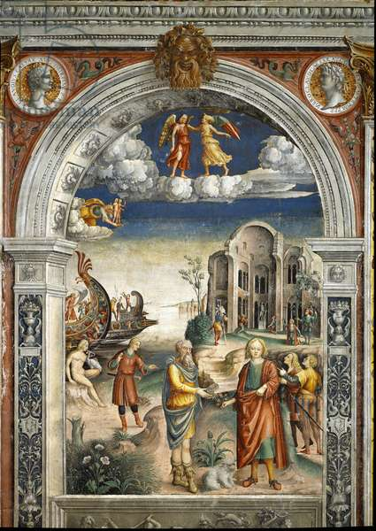 Sign of the zodiac:  gemini. Two men exchange an artichoke and flowers. A woman kisses a bird, men in the background came the god Neptune, c.1520 (fresco)