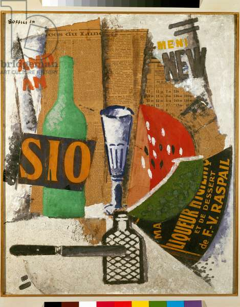 Pasteque and liqueurs (Cocomero e liquori) Painting and collage on cardboard by Ardengo Soffici (1879-1964) 1914 Milan Pinacoteca di Brera (pse155771)