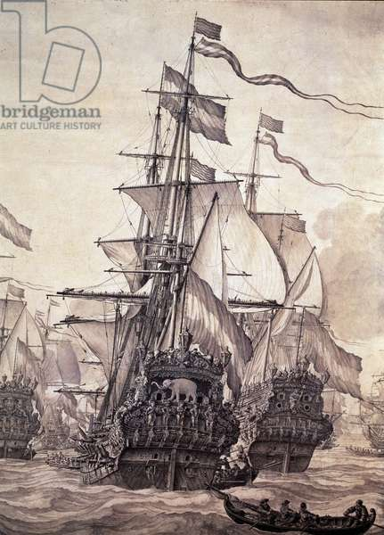 Representation of the Dutch Fleet in 1672 (The dutch flotilla, 1672) Detail Painting by Willem I Van de Velde (1611-1693) Florence, Galleria Palatina Italy