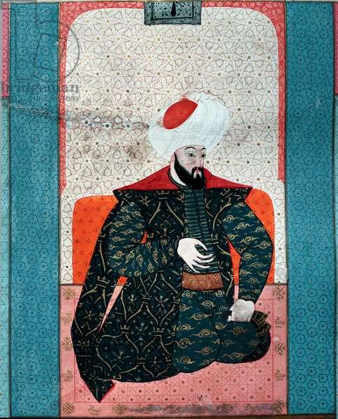 "Ottoman Empire: """" Portrait of Sultan Osman I (Osman Gazi rahimahu llah) (1258-1326)"""" Miniature from ""Zubdat al Tawarikh"""" (Ms. 1973, fol. 59a) by Seyyyd Lokman Ashuri 1583 Istanbul, Turkish-Islamic Art Museum"