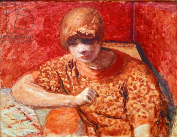 The orange blouse Young dreamy woman sitting has a table on a red background. Painting by Pierre Bonnard (1867-1947) 1913 Dim. 52x67 cm Paris, Private Collection