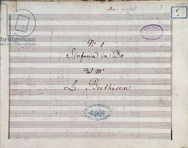 First page of the sheet music for Symphony no 1 en C major opus 21,  by Ludwig van Beethoven