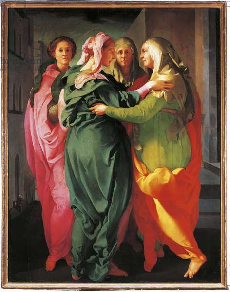 The Visitation The Virgin meets Elizabeth and two other women.