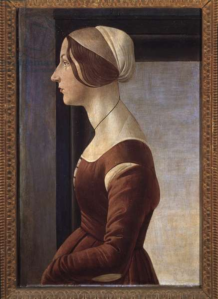 Portrait of Young Woman (Simonetta Vespucci or Clarice (Clarisse) Orsini) (Young lady) Painting by Alessandro di Mariano dei Filipepi dit Sandro Botticelli (1445-1510) 1475 ca Dim 61x40 cm Florence, Galleria Palatina