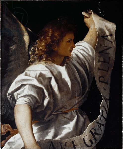 Polyptych Averoldi: Announce Angel, 1520-22 (oil on board)
