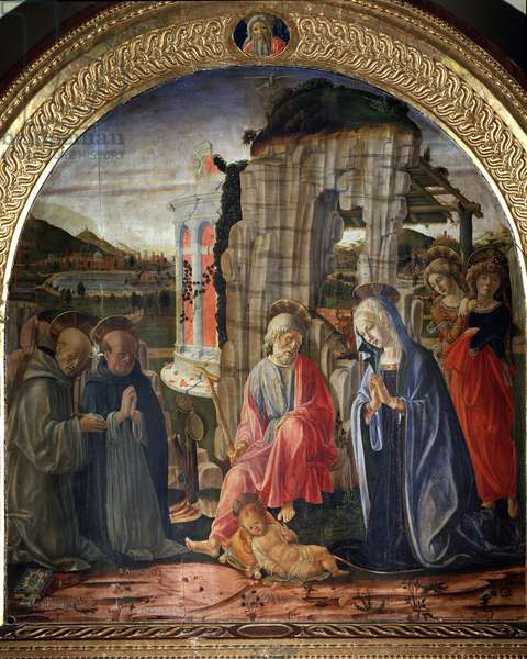 Nativity with st Bernard and st thomas Aquinas - Painting, 1475-1476